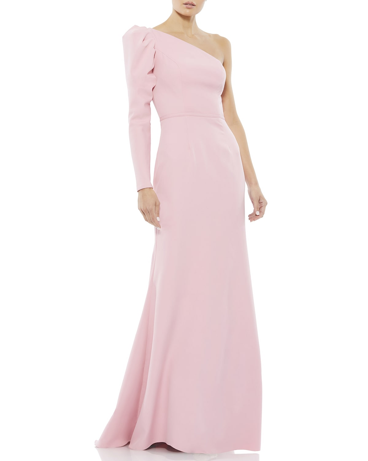 One-Shoulder Puff-Sleeve Trumpet Gown