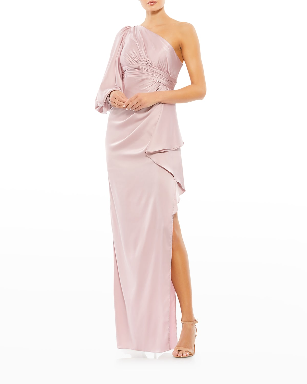 One-Shoulder Side-Drape Satin Gown