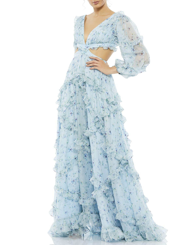Floral Chiffon Ruffle-Trim Cutout Gown