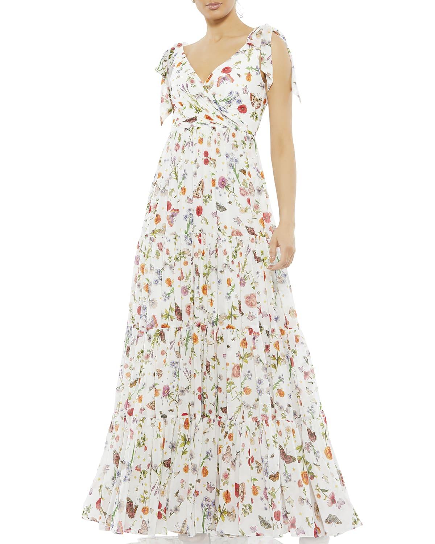 Bow-Shoulder Floral-Print Chiffon Gown