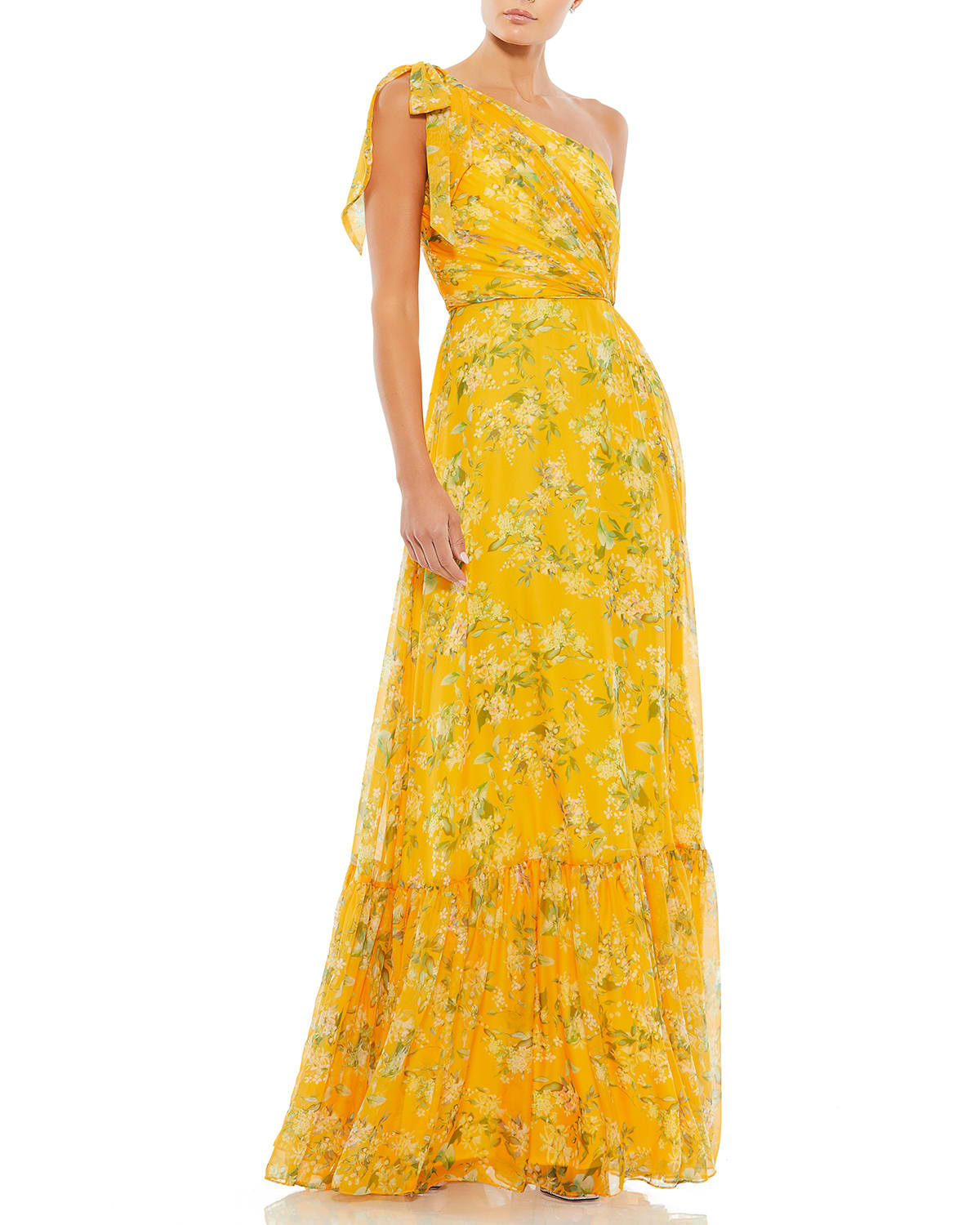 Floral Chiffon One-Shoulder Ruffle Gown