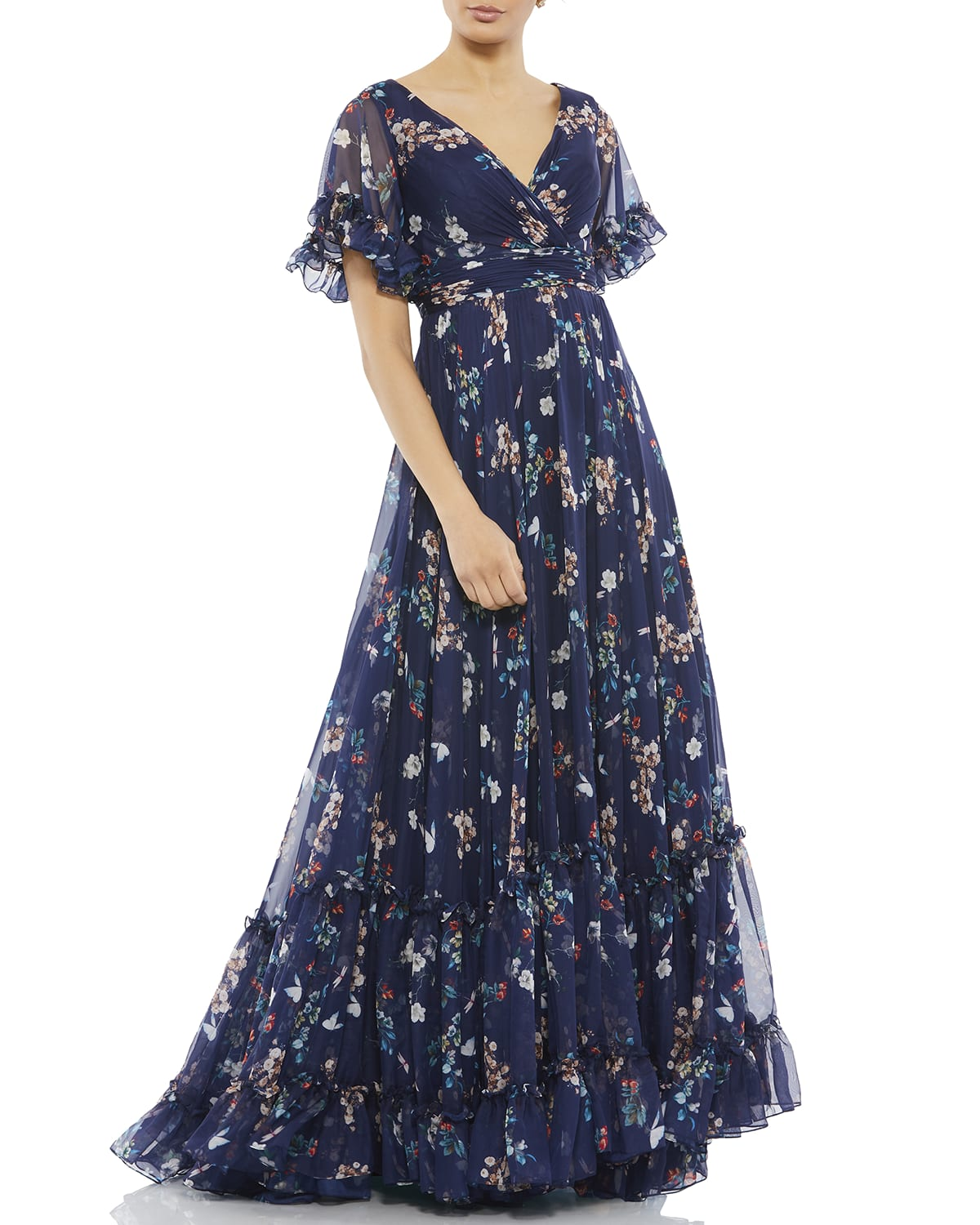 Floral Chiffon Ruffle-Sleeve A-Line Gown
