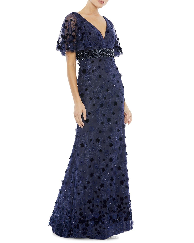 Floral Applique Lace Column Gown