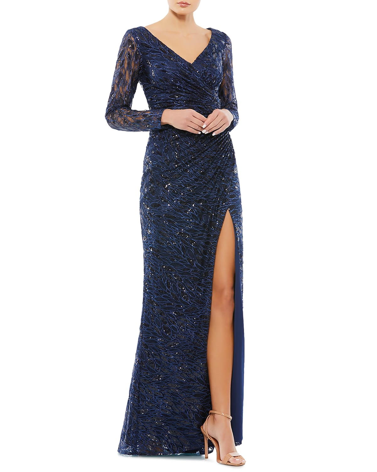 Sequin Lace Long-Sleeve Wrap Gown