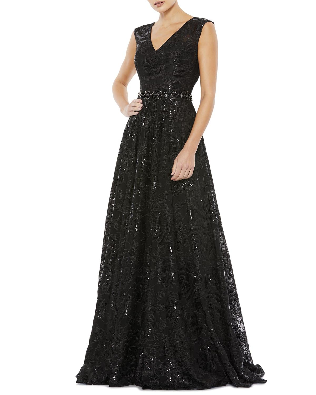 Sequin Floral Lace A-Line Gown