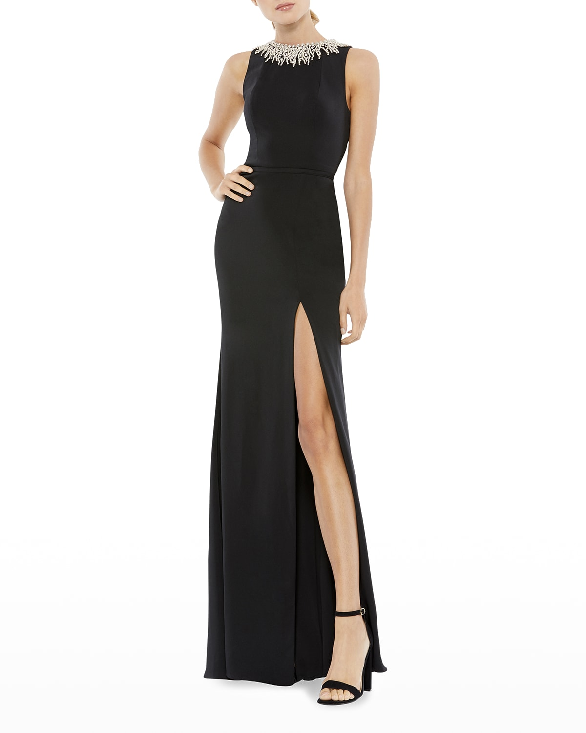 Bejeweled-Neck Column Gown