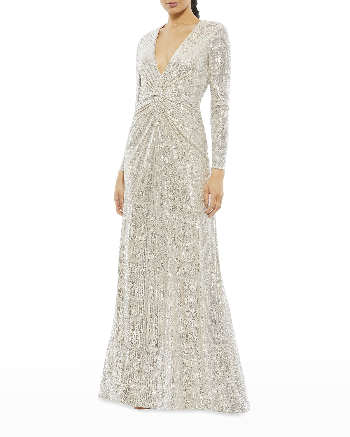 Twist-Front Long-Sleeve Sequin Gown
