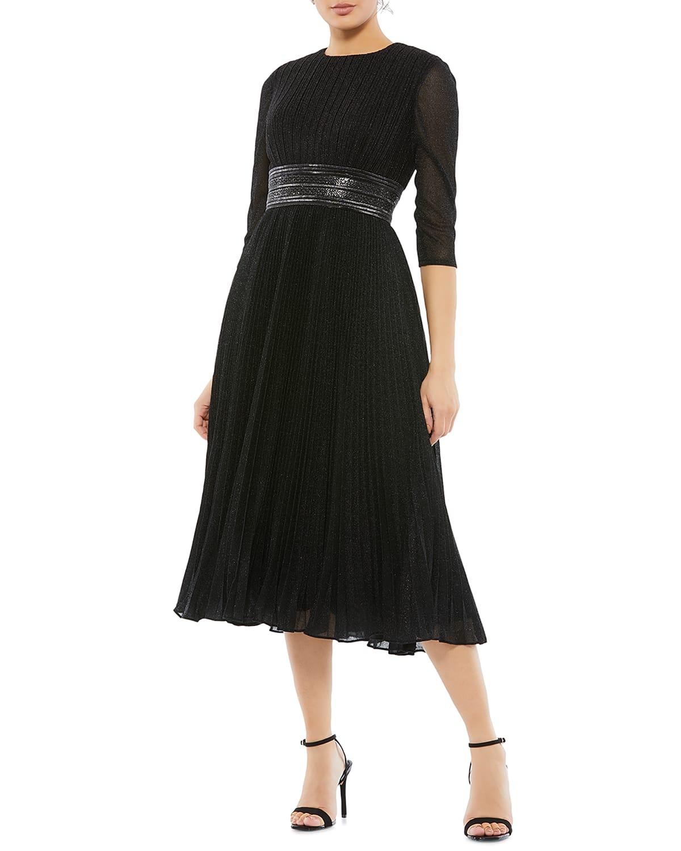3/4-Sleeve Pleated Metallic Midi Dress