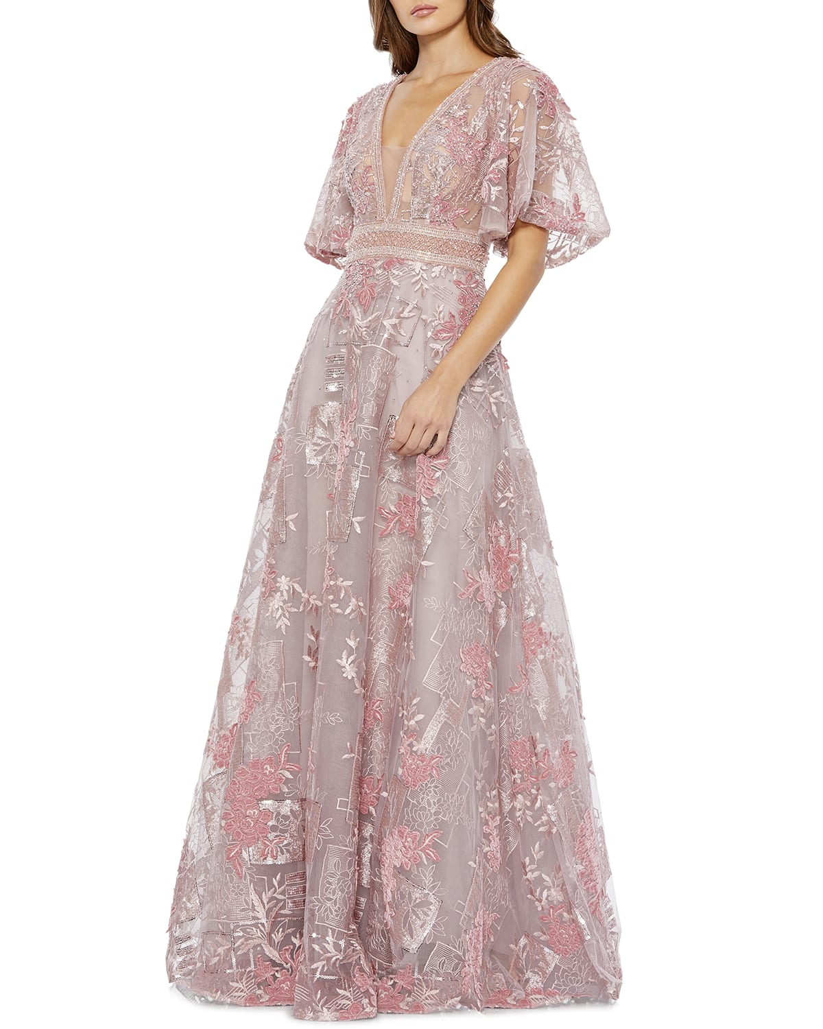 Plunging Floral Embroidered Ball Gown