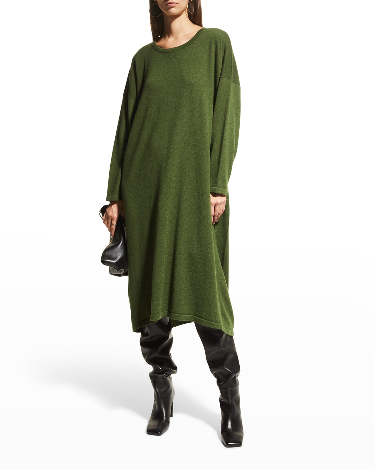 Angled-to-Front Cashmere Dress