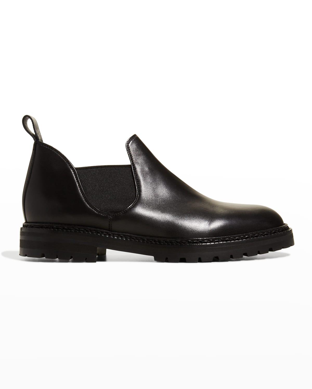 Tarquinia Lug-Sole Leather Slip-On Loafers