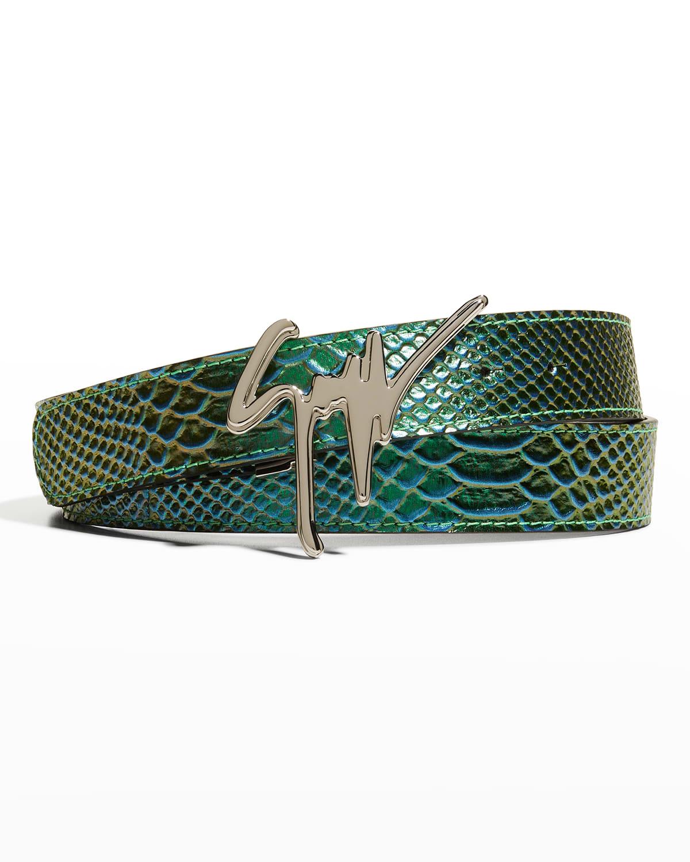 Men's Iridescent Croc-Embossed Belt
