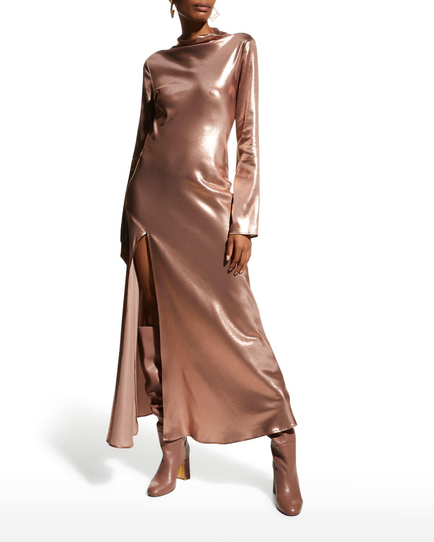 Metallic Funnel-Neck Silk Bias Dress