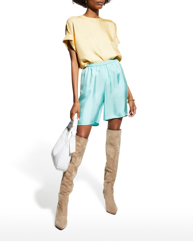 Dolman Rolled-Sleeve Silk Twill T-Shirt