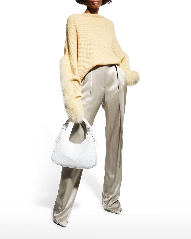 Cashmere Funnel-Neck Sweater w/ Fur Trim