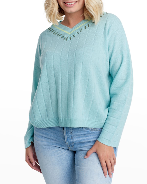 Plus Size Sugar Rush V-Neck Cashmere Sweater