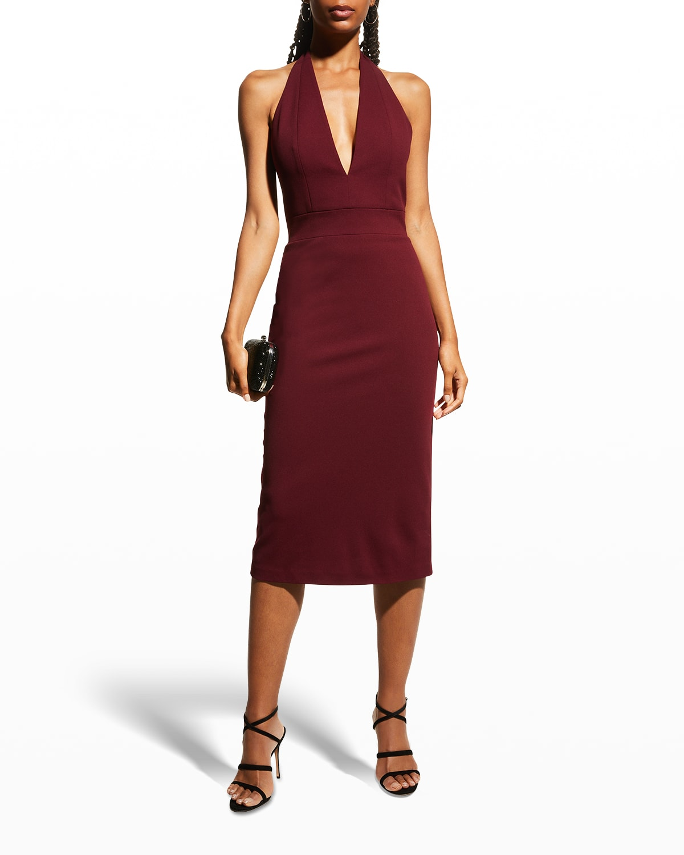 Deep V-Neck Crepe Halter Dress
