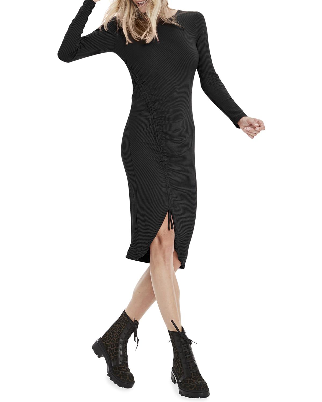 Mona Long-Sleeve Dress w/ Drawstring