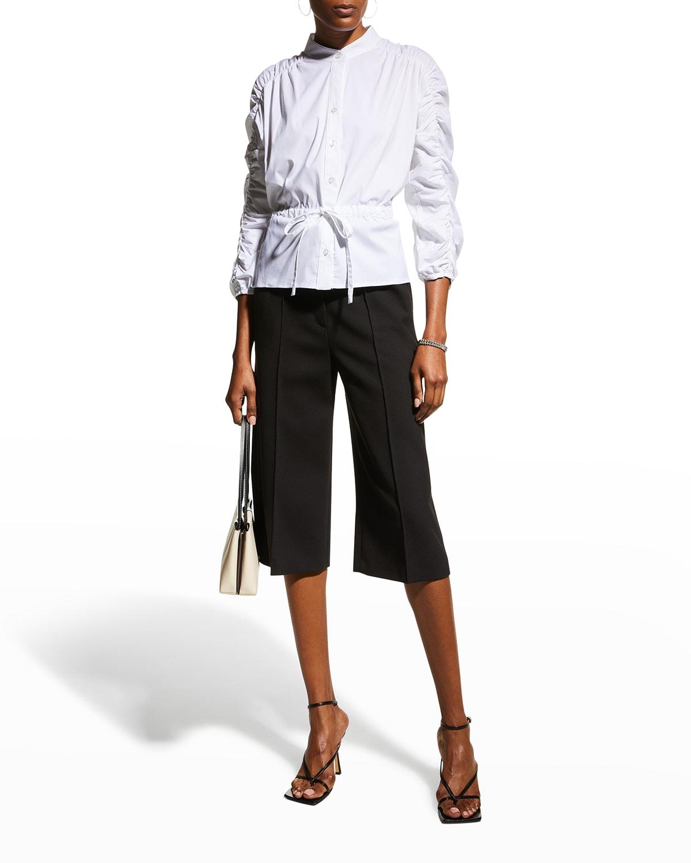 Marcella Shirred-Sleeve Poplin Shirt