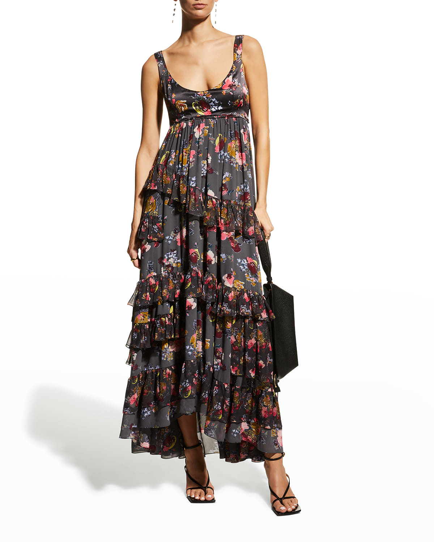 Alanis Tiered Ruffle Silk Dress