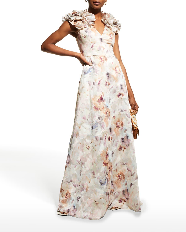 Watercolor Floral Rosette-Shoulder Gown