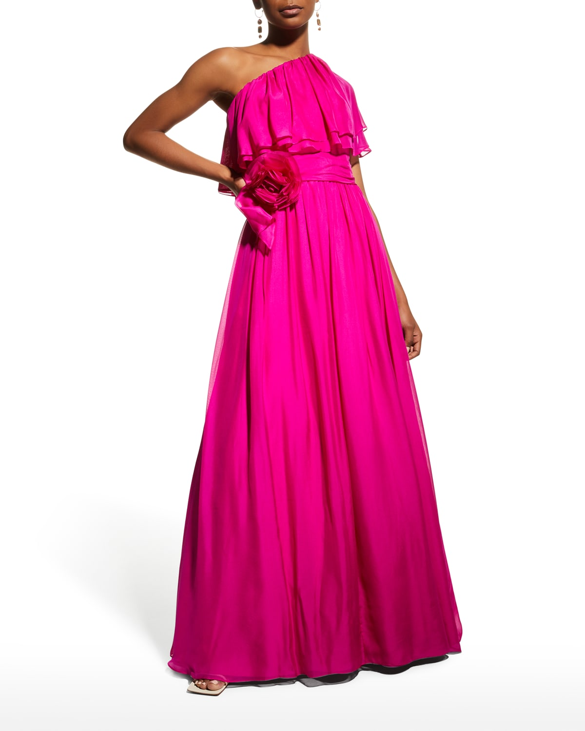One-Shoulder Tiered Popover A-Line Gown