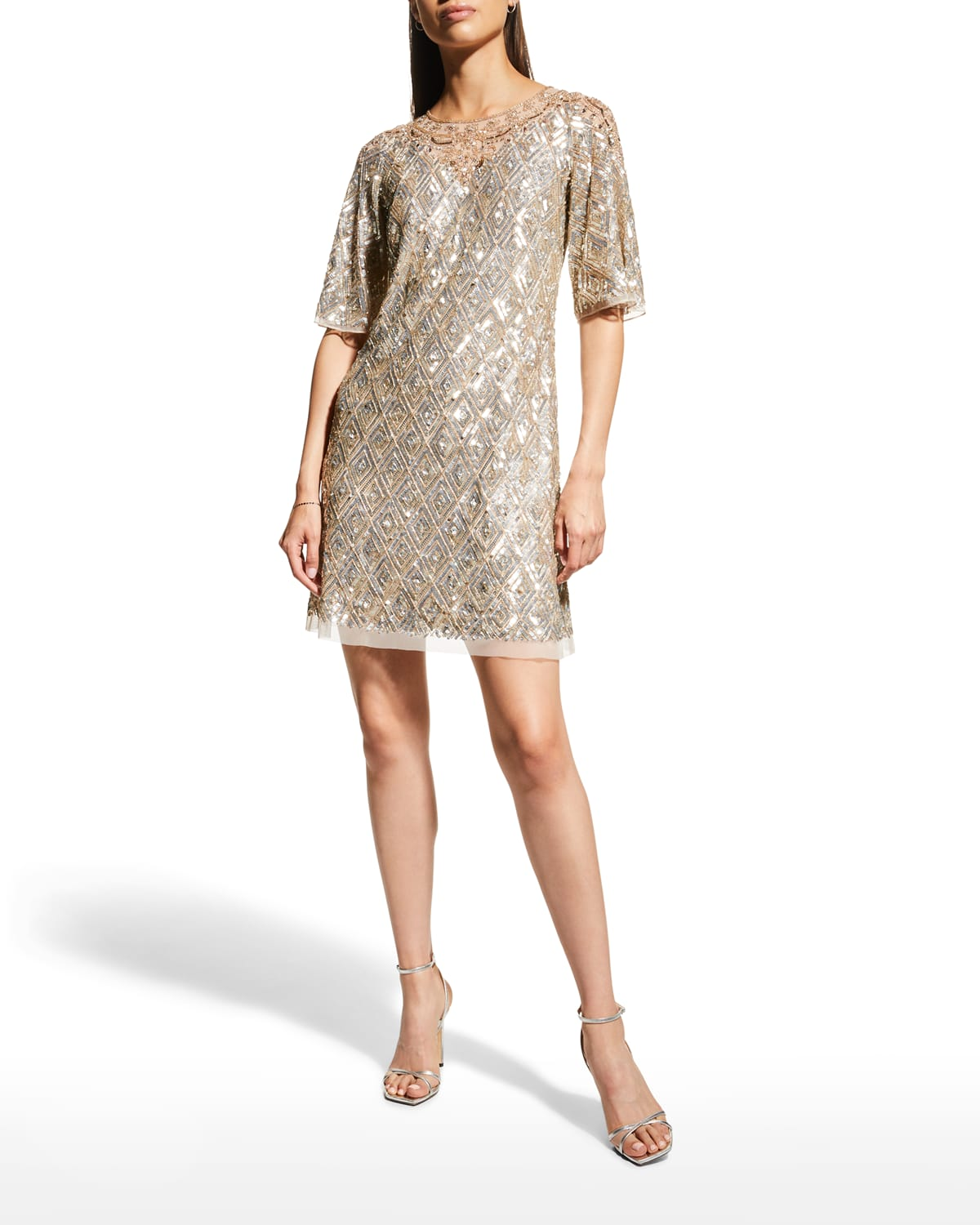 Beaded Trapeze Cocktail Dress