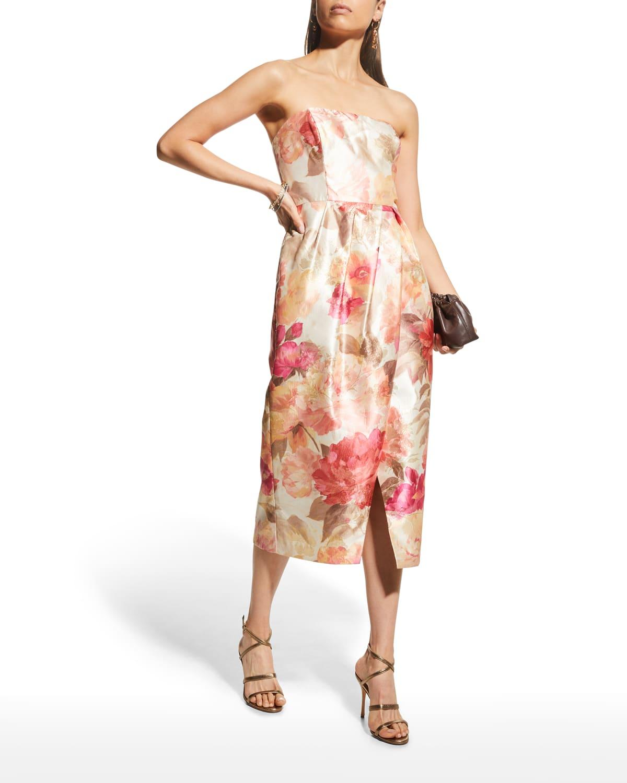 Floral Bustier Strapless Dress