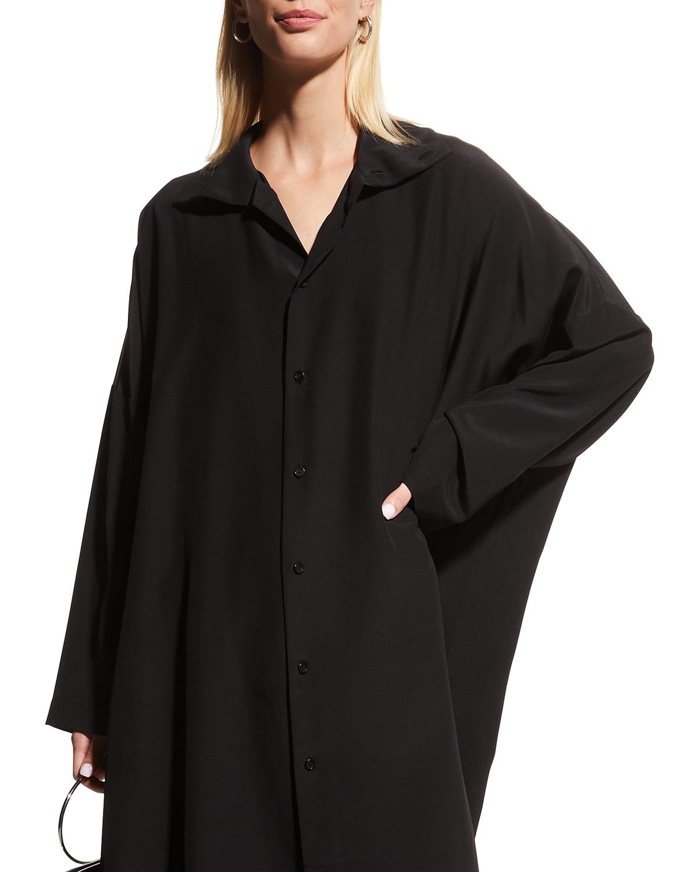 Oversized Silk Button-Down Shirt