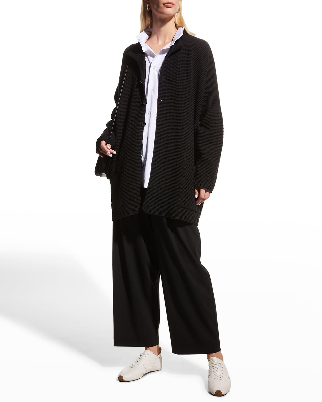 Wave-Knit Long Cashmere-Silk Cardigan