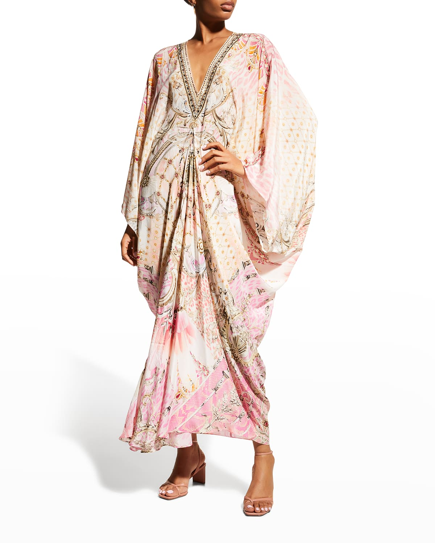 T-Shape Long Silk Kaftan Dress