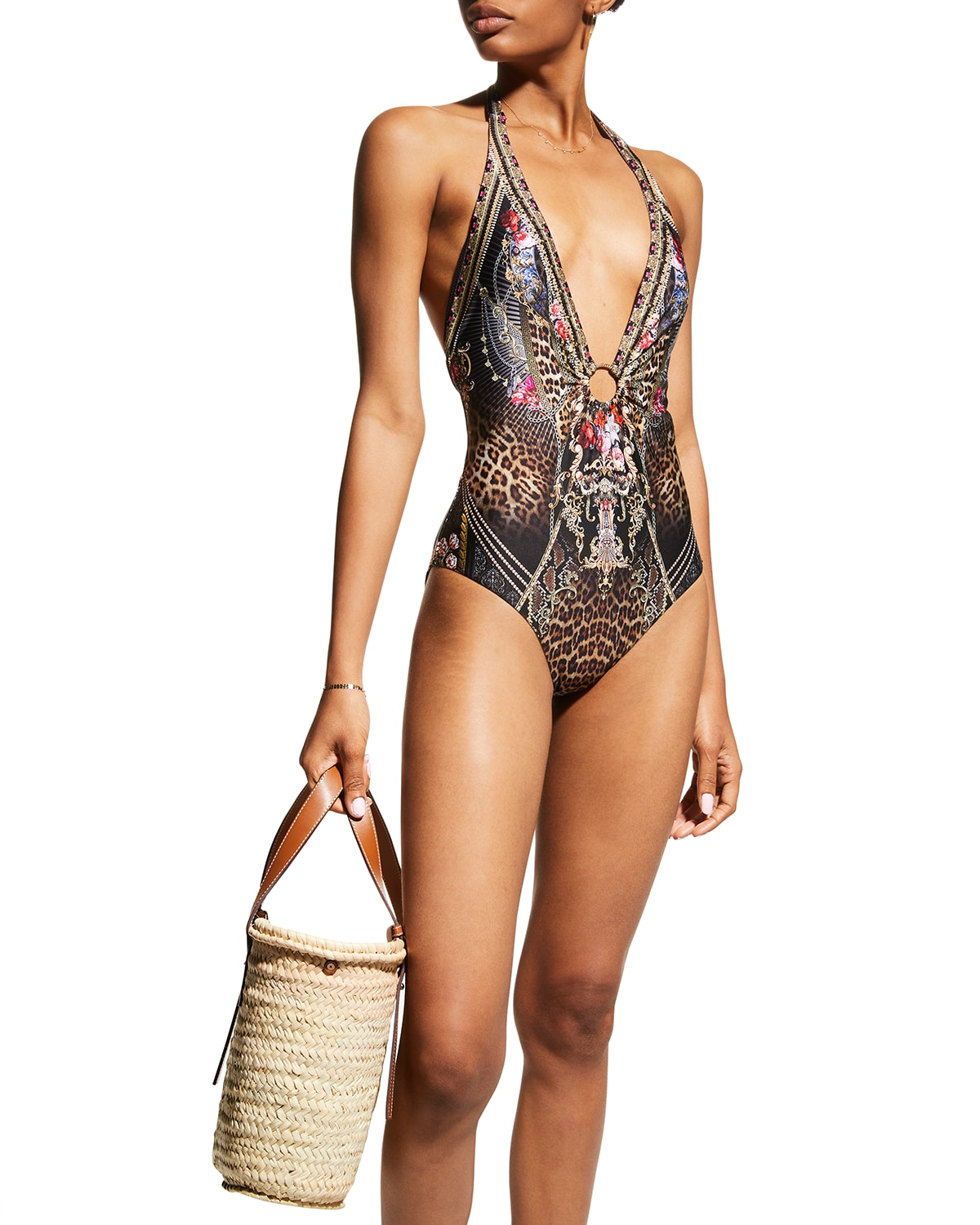 Plunge Printed One-Piece Swimsuit