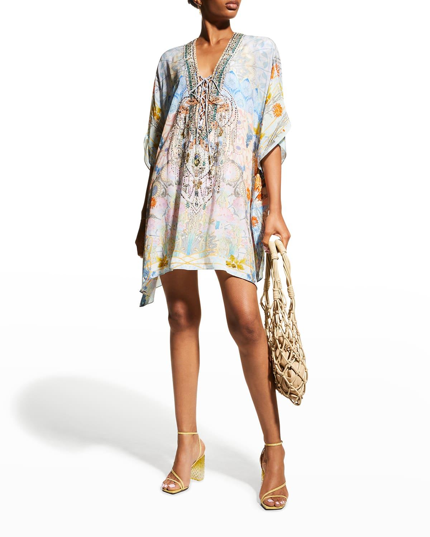 Short Silk Lace-Up Kaftan