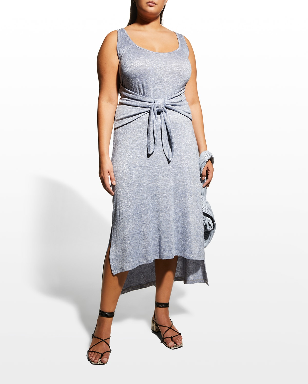 Plus Size Beach Coverup Front-Tie Midi Dress