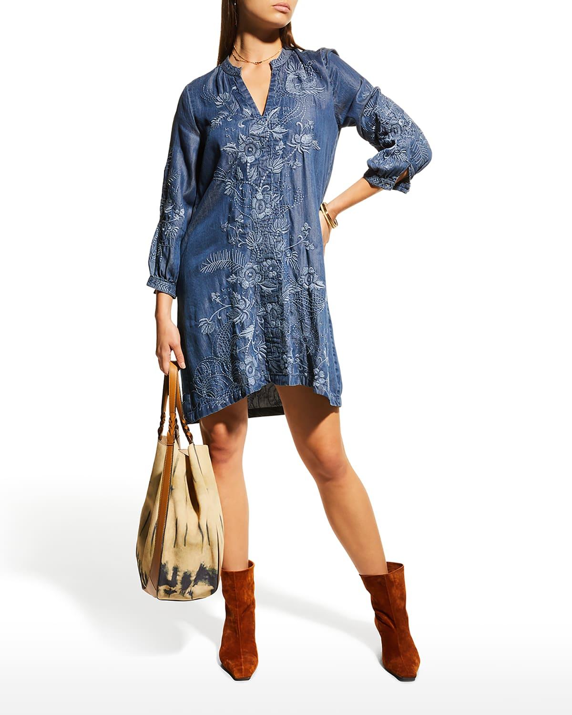 Kairi Bishop-Sleeve Embroidered Dress