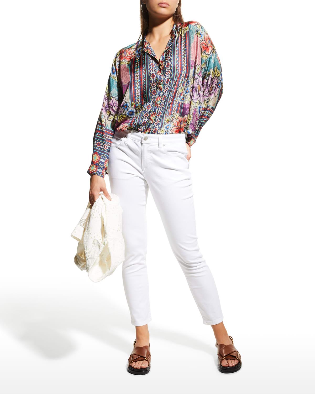 Ledona Janelle Button-Up Silk Top