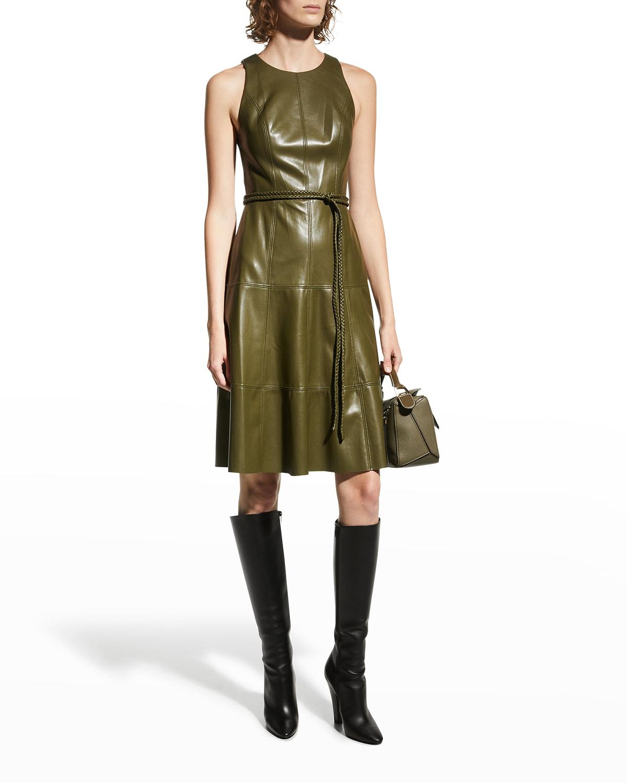 Leandra Vegan-Leather Midi Dress w/ Belt