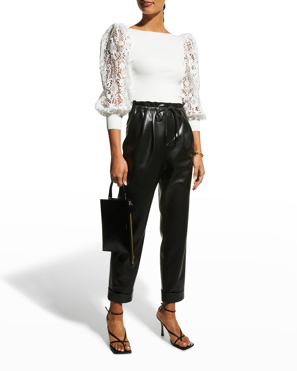 Abella Lace Puff-Sleeve Boat-Neck Sweater