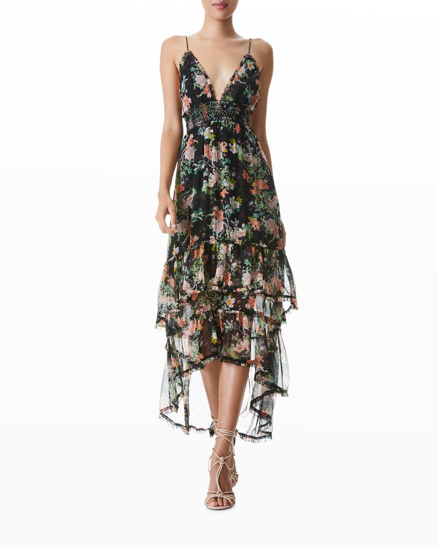 Imogene High-Low Spaghetti-Strap Dress