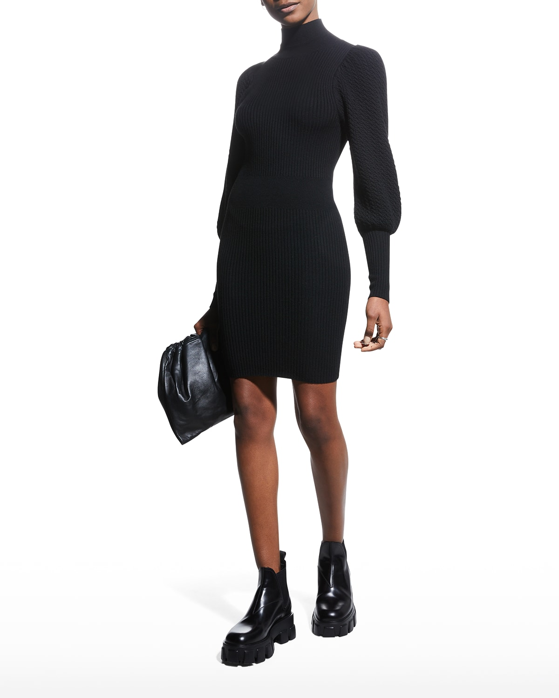Caleb Mock-Neck Puff-Sleeve Mini Dress
