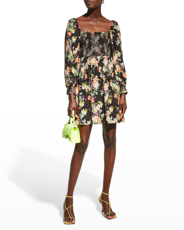 Cooper Blouson-Sleeve Empire-Waist Mini Dress