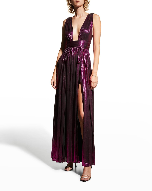 Romi Plunge Metallic Gown