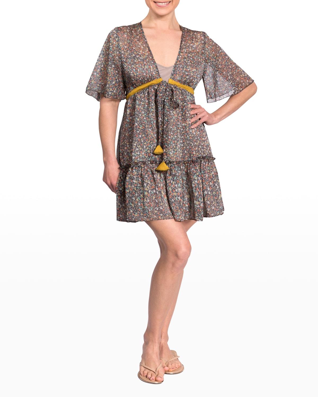 Ginger Short Ruffle-Trim Coverup Dress