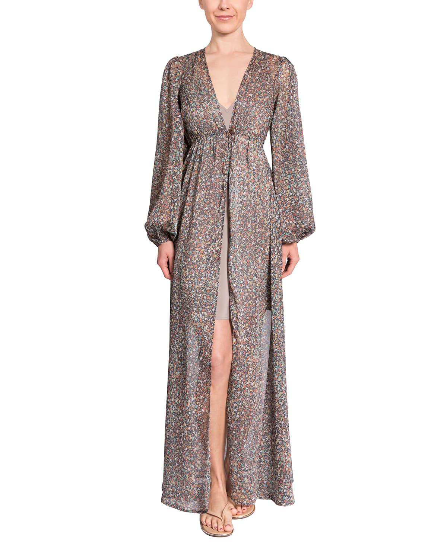 Trish Blouson-Sleeve Long Coverup Kimono