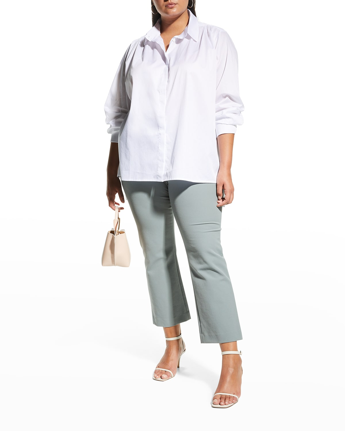 Plus Size Pearl Button-Front Tunic