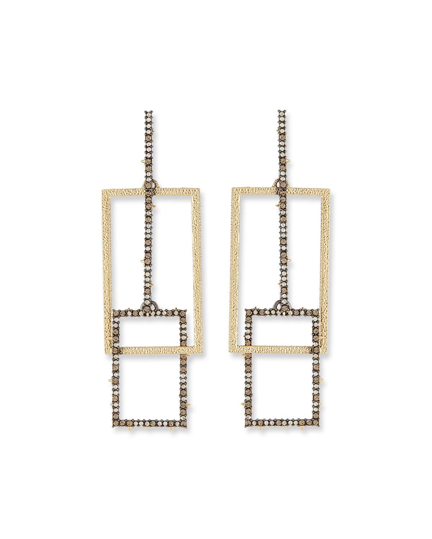 Crystal Encrusted Brutalist Link Post Earrings
