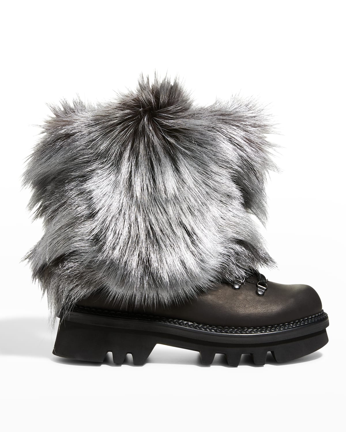 Seicento Fox Fur Lace-Up Booties