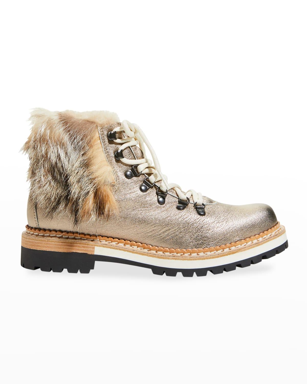 Clara Metallic Fox Fur Combat Booties