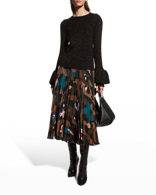 Saxon Pleated Midi Skirt