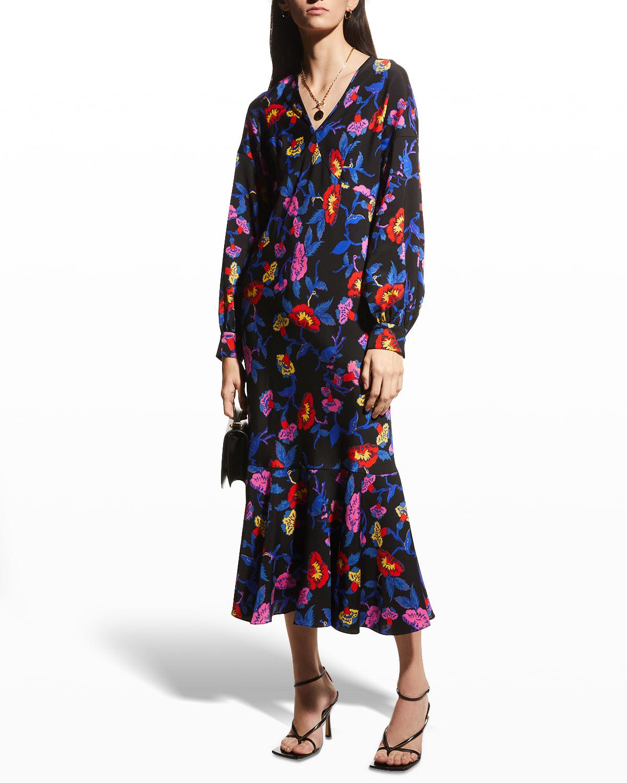 Luka Midi Floral Flounce-Hem Dress